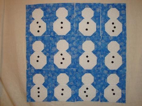 Beginning of Snowman Quilt